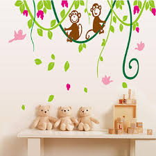 popular monkey vine buy cheap monkey vine lots from china monkey monkey flower vine diy wall sticker adesivo de parede wall stickers decal mural home decoration