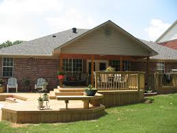 Outdoor Decoration by Deck Ground Level Deck Plans With Bench And Fence For Outdoor
