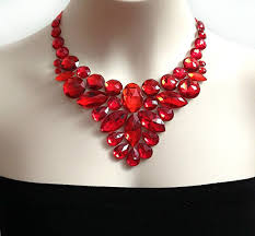 red necklace images Red bib necklace red rhinestone statement necklace jpg