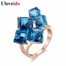 large ladies rings images Uloveido ladies crystal engagement cocktail ring large for women jpg