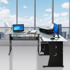 l shaped desk tempered frosted glass corner computer pc laptop