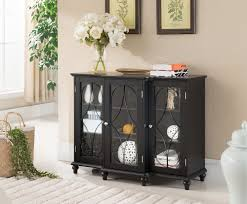 Storage Console Table by Kings Brand Black Finish Wood Storage Sideboard Buffet Cabinet