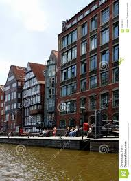 beautiful old houses on canals in the hafencity hamburg germany
