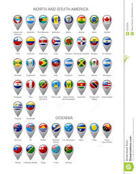 Map Of North And South America by Map Marker Set With Flags Of North And South America Continents