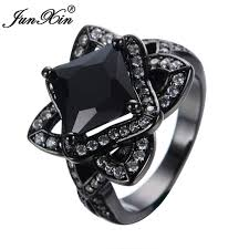aliexpress buy junxin new arrival black junxin new unique big flower design black rings gold filled