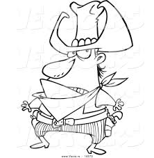 vector of a cartoon bad cowboy ready to draw his guns outlined