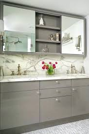 Bathroom Mirrors And Medicine Cabinets Bathroom Mirror With Medicine Cabinet Gray Cabinets And Marble