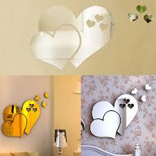hollow heart pattern diy acrylic mirror wall sticker removable