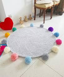 Round Kids Rug by Play Mat Pom Pom Round Rainbow Rug Mat Bohemian Crochet