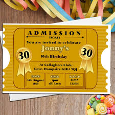 10 personalised gold ticket birthday party invitations n96