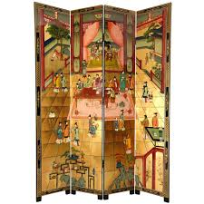 Gold Room Divider 7 Ft Gold 4 Panel Red Chamber Room Divider Lcq Scr Dream The