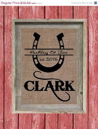 horseshoe wedding gift 25 sale personalized horseshoe burlap print bridal