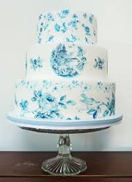 a blue and white china cake for a brides magazine feature