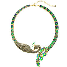 necklace golden images Beautiful golden marcasite green blue enamel imperial peacock jpg