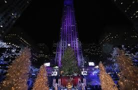 rockefeller center u0027s christmas tree lights turned on in new york