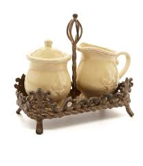 Fleur De Lis Canisters For The Kitchen Artimino Fleur De Lis Beveled Earthenware Sugar U0026 Creamer Set