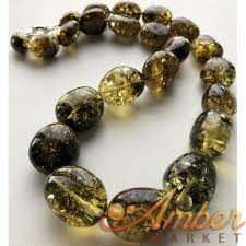 amber beads necklace images Green color amber beads necklace 110g JPG