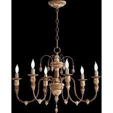 1900s hand painted wood french country style 8 arm chandelier gilt
