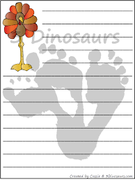 free thanksgiving writing paper 3 dinosaurs