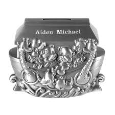 personalized silver piggy bank personalized noah s ark piggy bank at signals ra0128e
