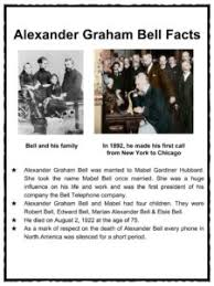 facts about alexander graham bell s telephone alexander graham bell facts worksheets inventions for kids