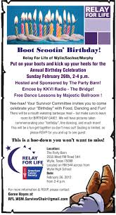 boot scootin u0027 birthday party for cancer survivors blue ribbon news