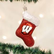 world wisconsin badgers ncaa glass ornament