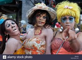 thailand transvestites at a thailand halloween festival stock
