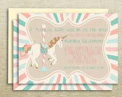 carousel unicorn printable baby shower invitation by