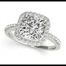 square style rings images Cushion cut halo style engagement ring semi mount png