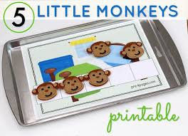 five frame 5 little monkeys counting five frame printable pre k pages