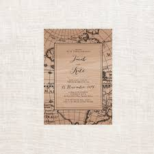 Vintage Map Vintage Map Wooden Wedding Invitations Sail And Swan Studio