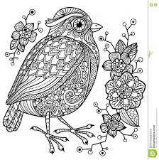 coloring page with a bird and flowers stock vector image 71204192