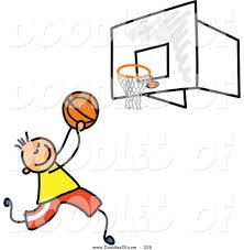 vector clipart of a childs sketch of a boy playing basketball on a