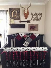 boy crib bedding buck deer black arrows lodge red black
