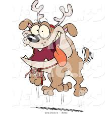 cartoon vector of a happy christmas bulldog wearing reindeer