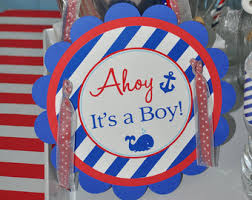 Nautical Baby Shower Decorations - nautical baby shower cupcake toppers boys baby shower