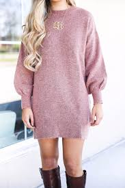 large monogram necklace casual sweater dress ootd daily dose of charm