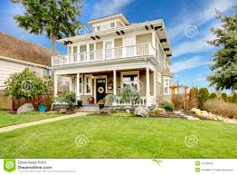 House With Porch by Two Story American House With White Column Porch Stock Images
