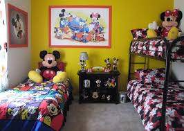 Mickey And Minnie Mouse Bedroom Set Mickey Mouse Bedrooms For Kids And Bright Yellow Color For Walls