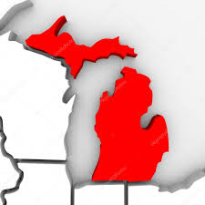 State Of Michigan Map by Michigan Sate Map U2014 Stock Photo Iqoncept 4440689