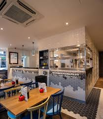 Ceiling Tiles For Restaurant Kitchen by Fab Restaurant Design At Gourmet Burger Kitchen Bands Of Hexagon