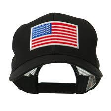 American Flag Flat Bill Hat 6 Panel Mesh American Flag White Patch Cap Black Osfm At Amazon