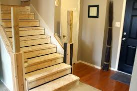 How To Refinish A Wood Banister Beautiful Budget Stair Remodel From Carpet To Wood Treads