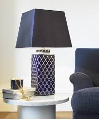 Square Table Lamp Madras 1 Light Square Table Lamp In Blue