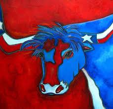 texas flag painting lone star longhorn by patti schermerhorn
