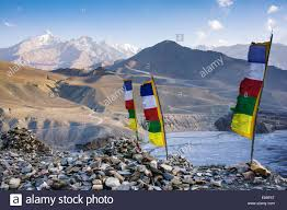 Pics Of Nepal Flag Nepal Mustang Prayer Flags At The Top Of Trail Stock Photo
