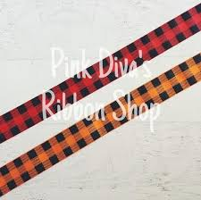and black plaid ribbon 1 5 inch orange and black plaid ribbon orange plaid ribbon