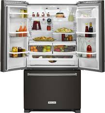 kitchenaid 20 cu ft french door counter depth refrigerator black