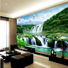 Bedroom Water Feature 3d Wallpaper Mural Waterfall Nature Bedroom Living Room Tv